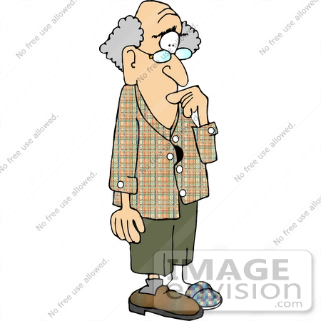 Old Forgetful Man Missing a Shoe Clipart.