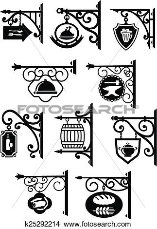 Clipart of Hanging signboard with vintage forging k25292214.