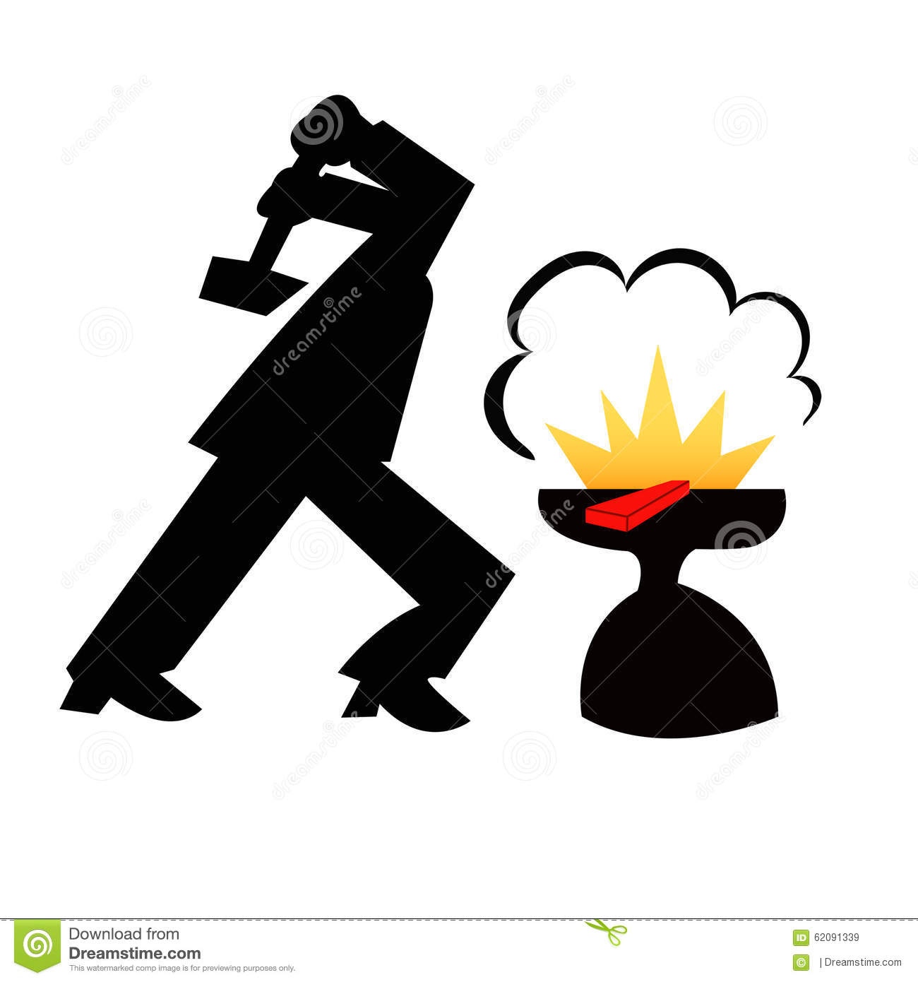 Man Forging Iron Stock Illustration.