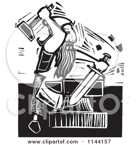 Clipart of a Black and White Blacksmith Forging a Sword Woodcut.
