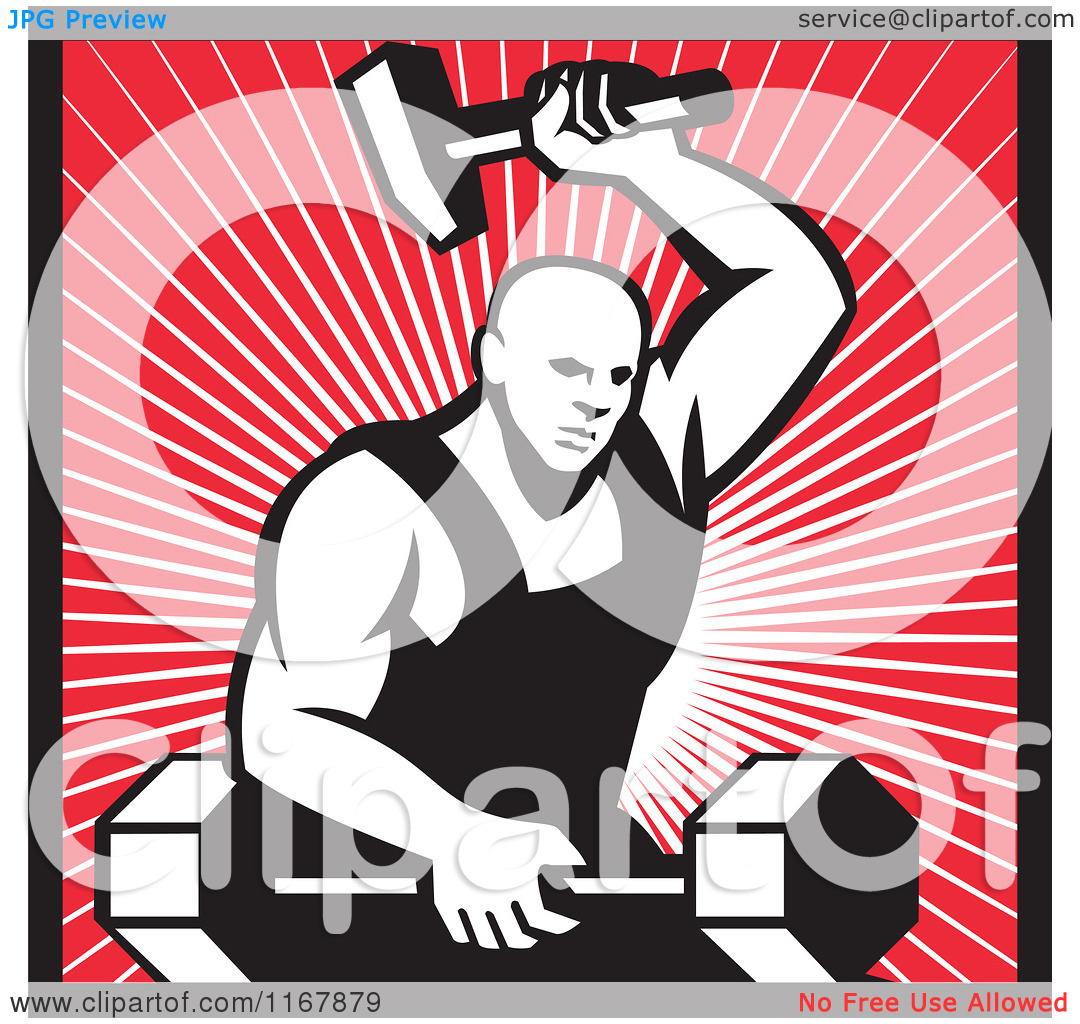 Clipart of a Strong Blacksmith Forging a Barbell over Rays and.