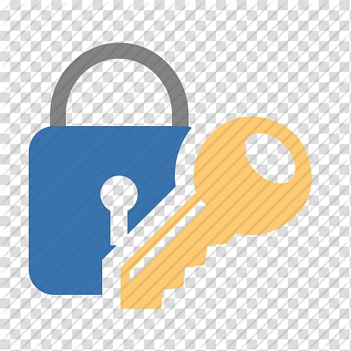 Brown key with padlock illustration, Password manager.