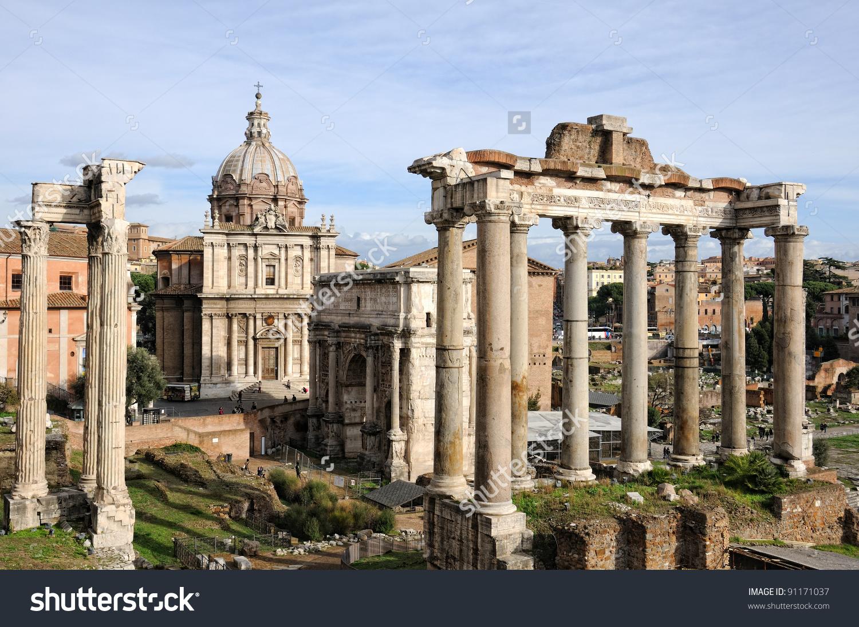 Roman Ruins In Rome, Fori Imperiali. Stock Photo 91171037.