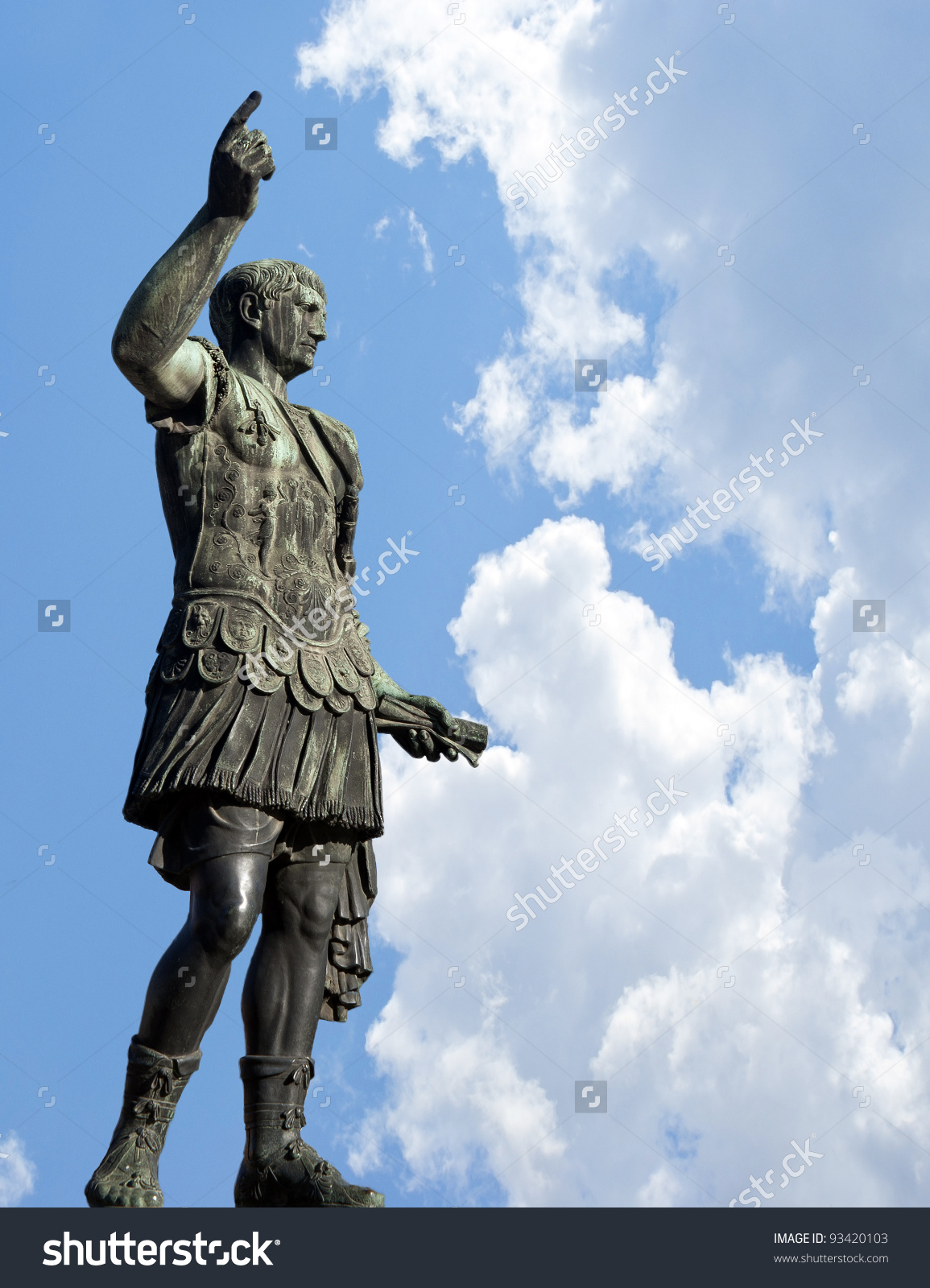 Bronze Statue Of Emperor Caesar Augustus On Via Dei Fori Imperiali.