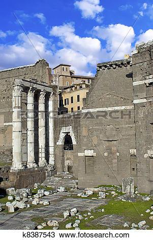 Stock Photo of Roman ruins in Rome, Fori Imperiali. k8387543.