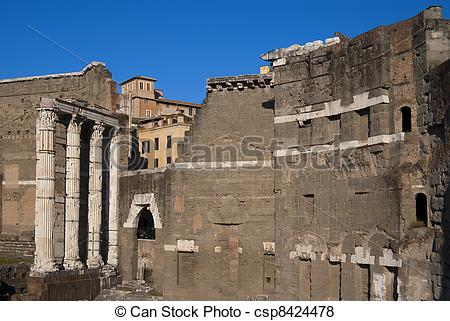 Pictures of Roman ruins at ancient market in Rome, Fori Imperiali.