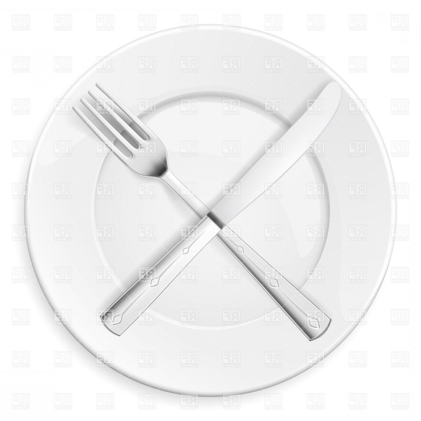Crossed Fork And Knife On Plate Vector Clipart.