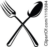 Black And White Clipart Of Fork And Spoon.