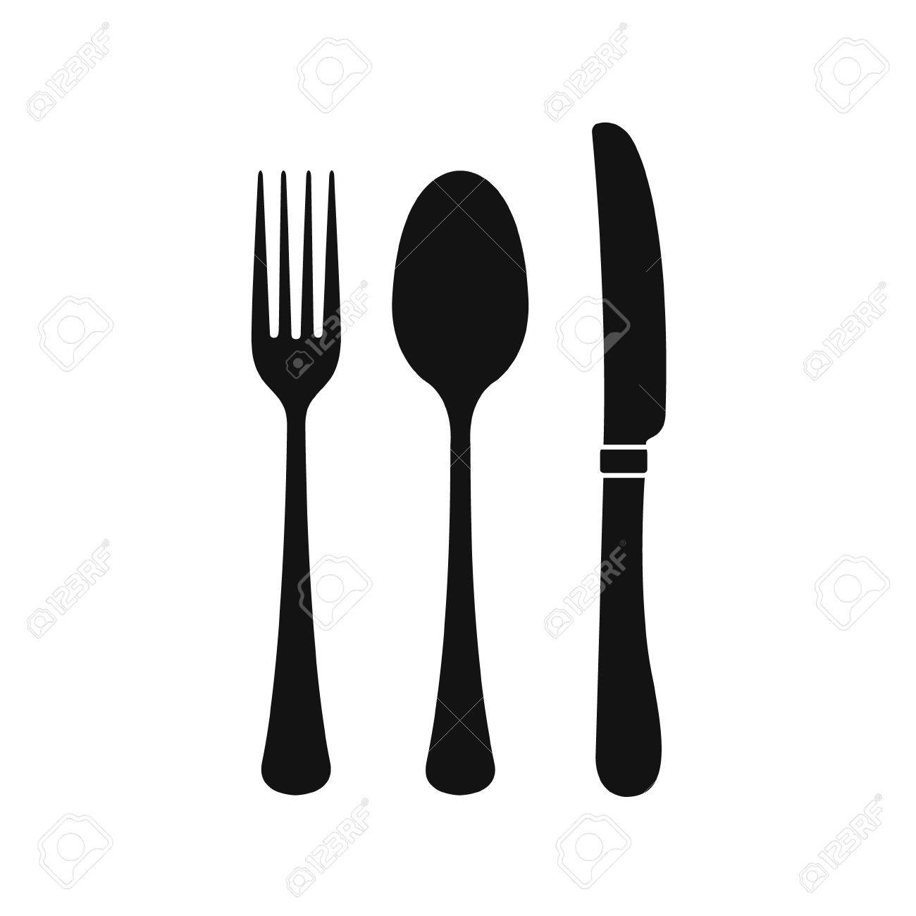 Spoon Fork Knife Silhouette.