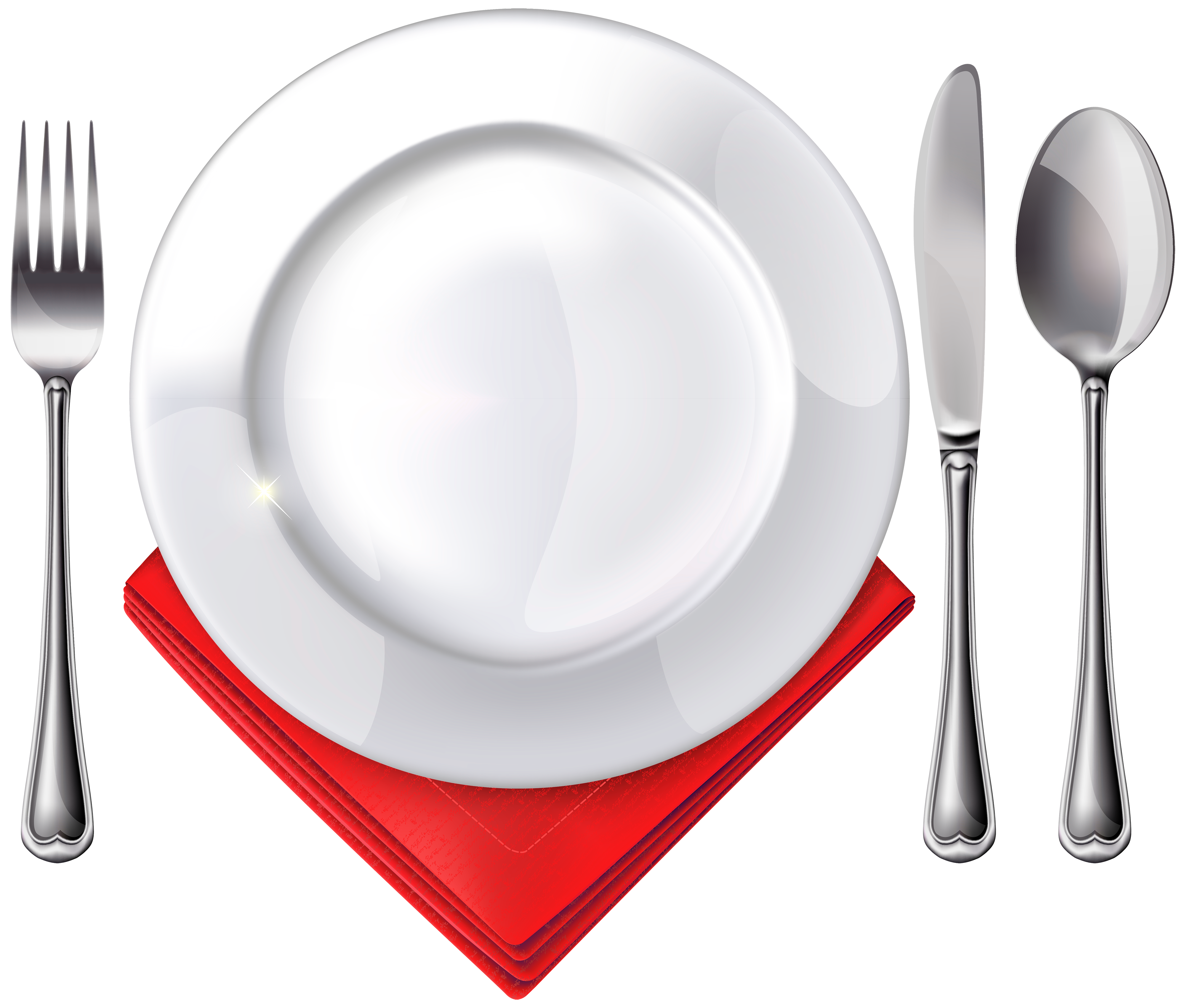 Plate Spoon Knife Fork and Red Napkin PNG Clipart.