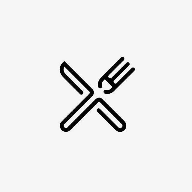 Fork and Knife. Anknown author. #fork #knife #logo #identity.