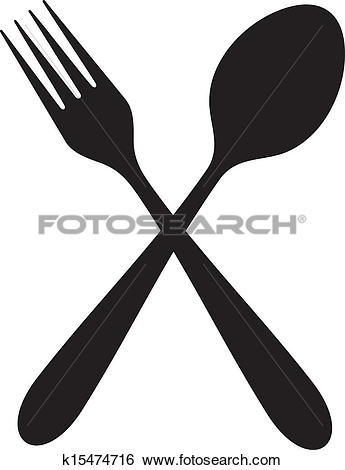 Crossed fork spoon Clip Art and Illustration. 127 crossed fork.