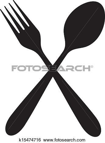 Crossed fork spoon Clip Art and Illustration. 127 crossed fork.