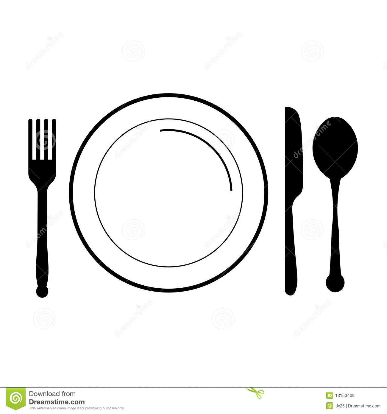 Plate Fork Knife Clip Art.