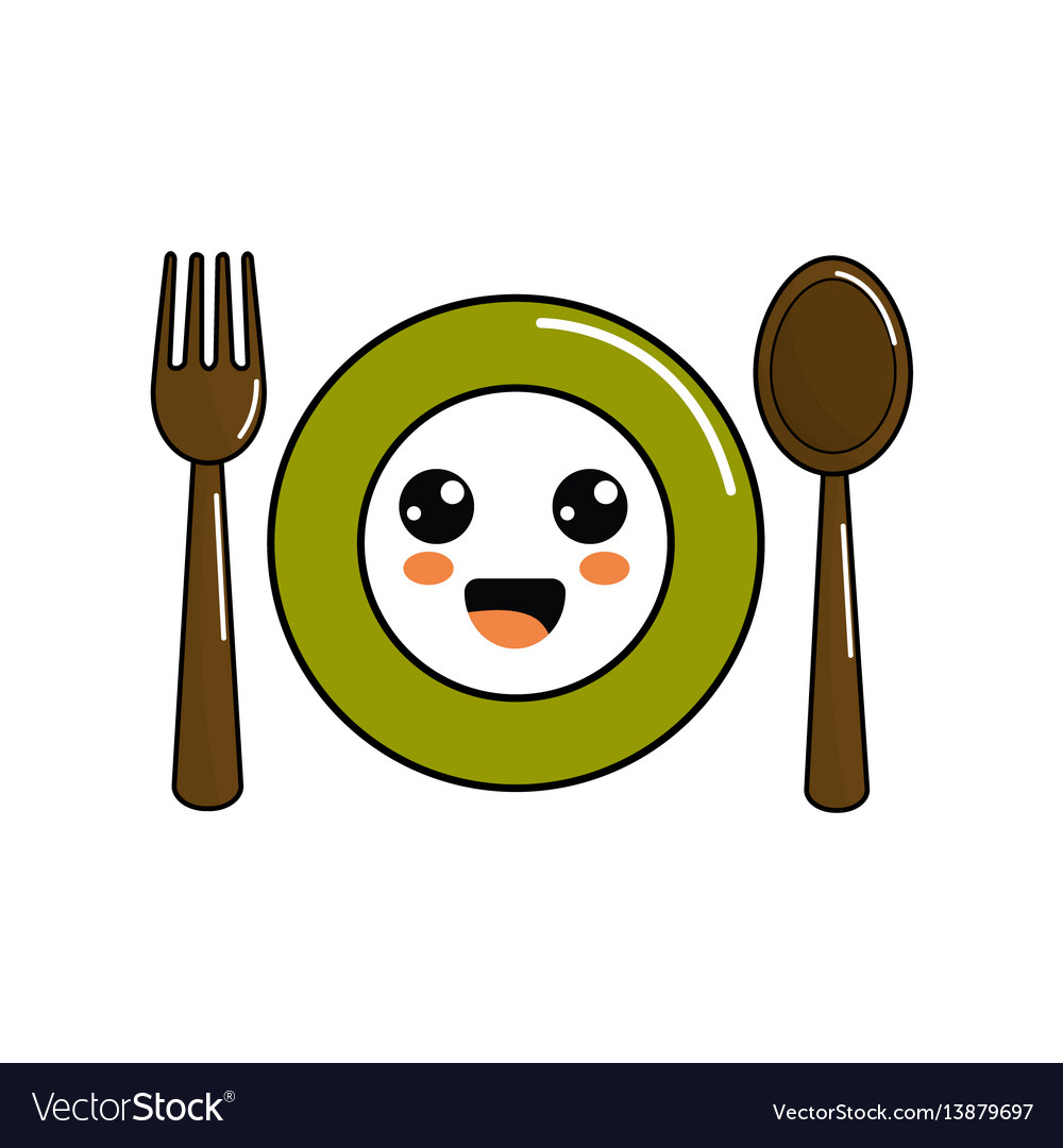 Kawaii plate with spoon and fork icon.