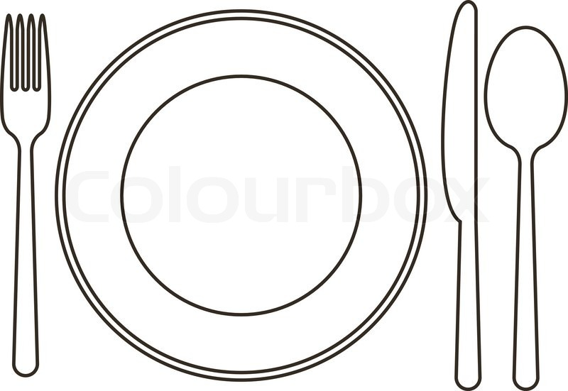 Fork Knife Spoon Plate Clipart.