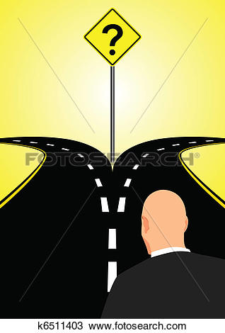 Clipart of Forked Road k6511403.