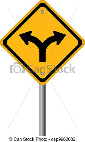 Vector Illustration of Fork in the road sign, vector illustration.
