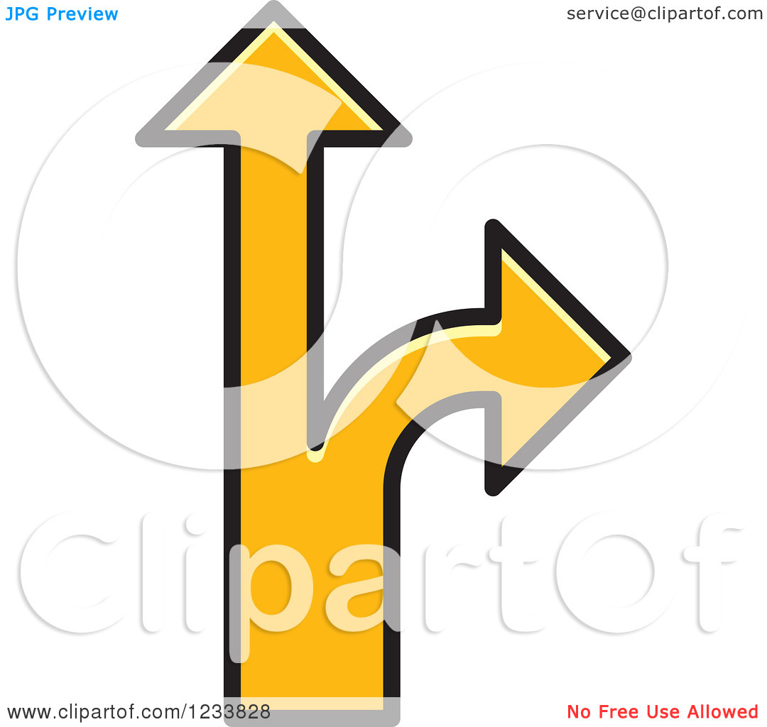 Clipart of Yellow Arrows Forking into Different Directions.
