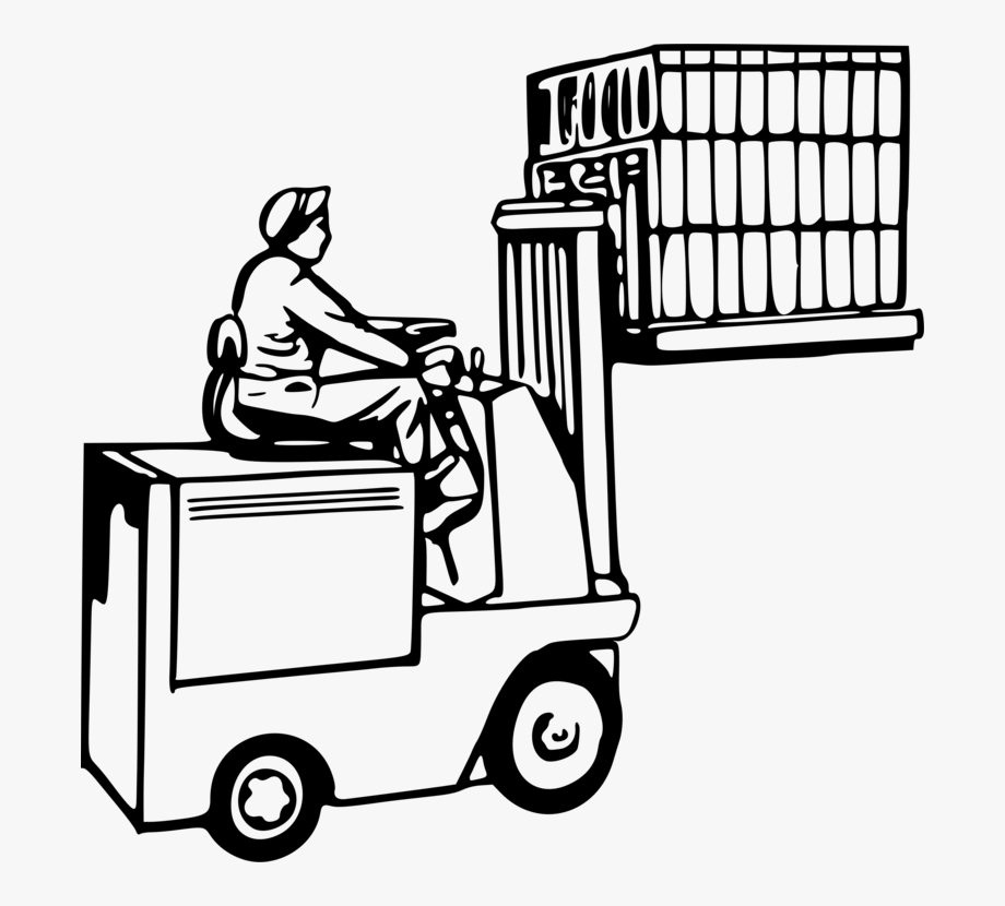 Forklift Operator Drawing Warehouse Pallet.