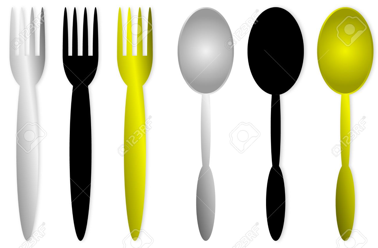 Spoons And Forks Isolated Obn White Background Royalty Free.