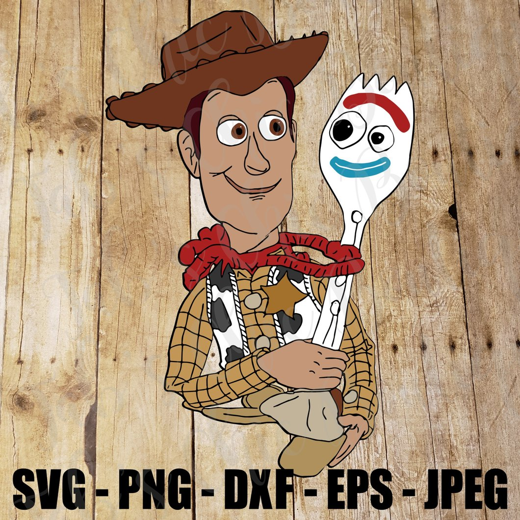 Woody and Forky Spork Toy Story 4, SVG, JPEG, High Definition PNG DXF Cake  topper cupcake topper, clipArt #Forky Sporky.