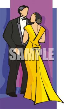 Royalty Free Clipart Image: Couple At a Formal Dance.