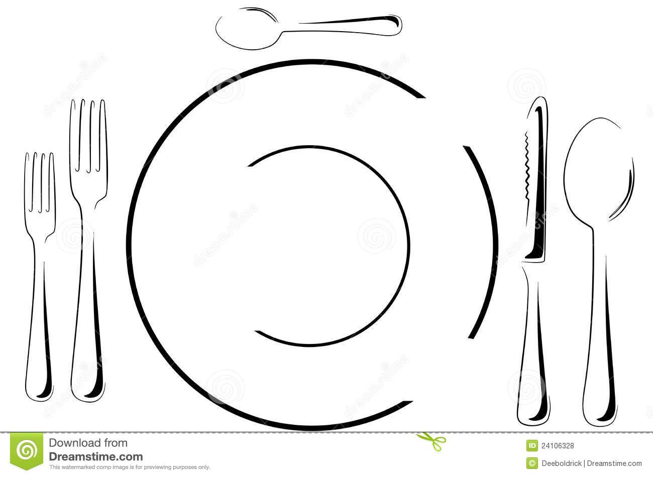 Table setting in line art stock vector. Illustration of formal.
