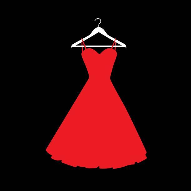 Red Dress On Hanger Icon Vector Art Illustration.