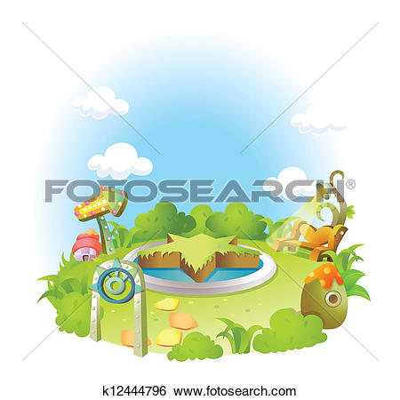 Clip Art of Formal garden on green landscape k12444796.