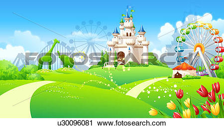 Clipart of Formal garden in front of an amusement park u30096081.