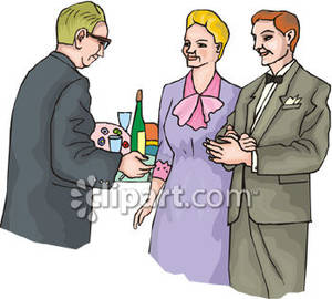 Couple and a Single Man, Talk At a Formal Party Royalty Free.