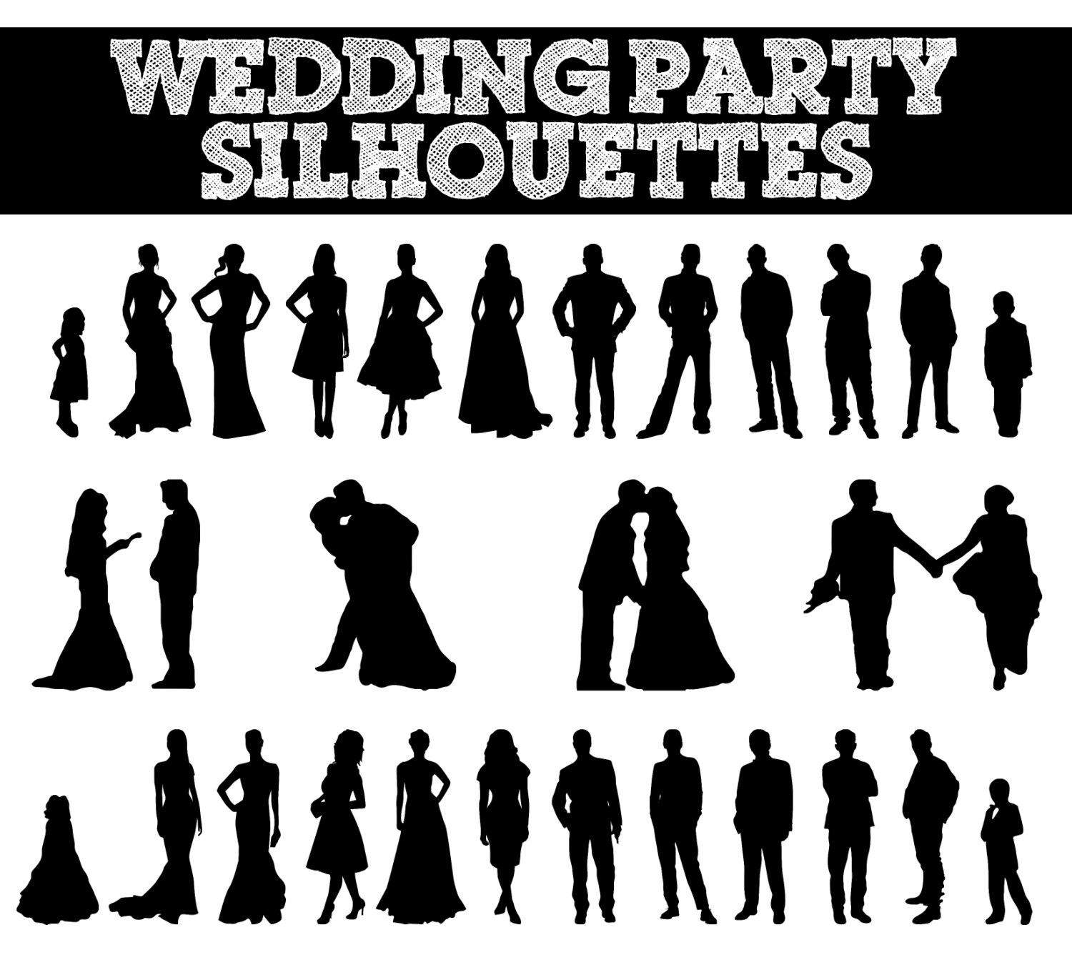 Instant Download 16 Digital Bride and Groom Silhouette Clip Art.
