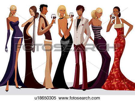 Stock Illustration of Group of people enjoying in a party.