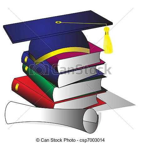 EPS Vector of formation hat of the book and diploma.