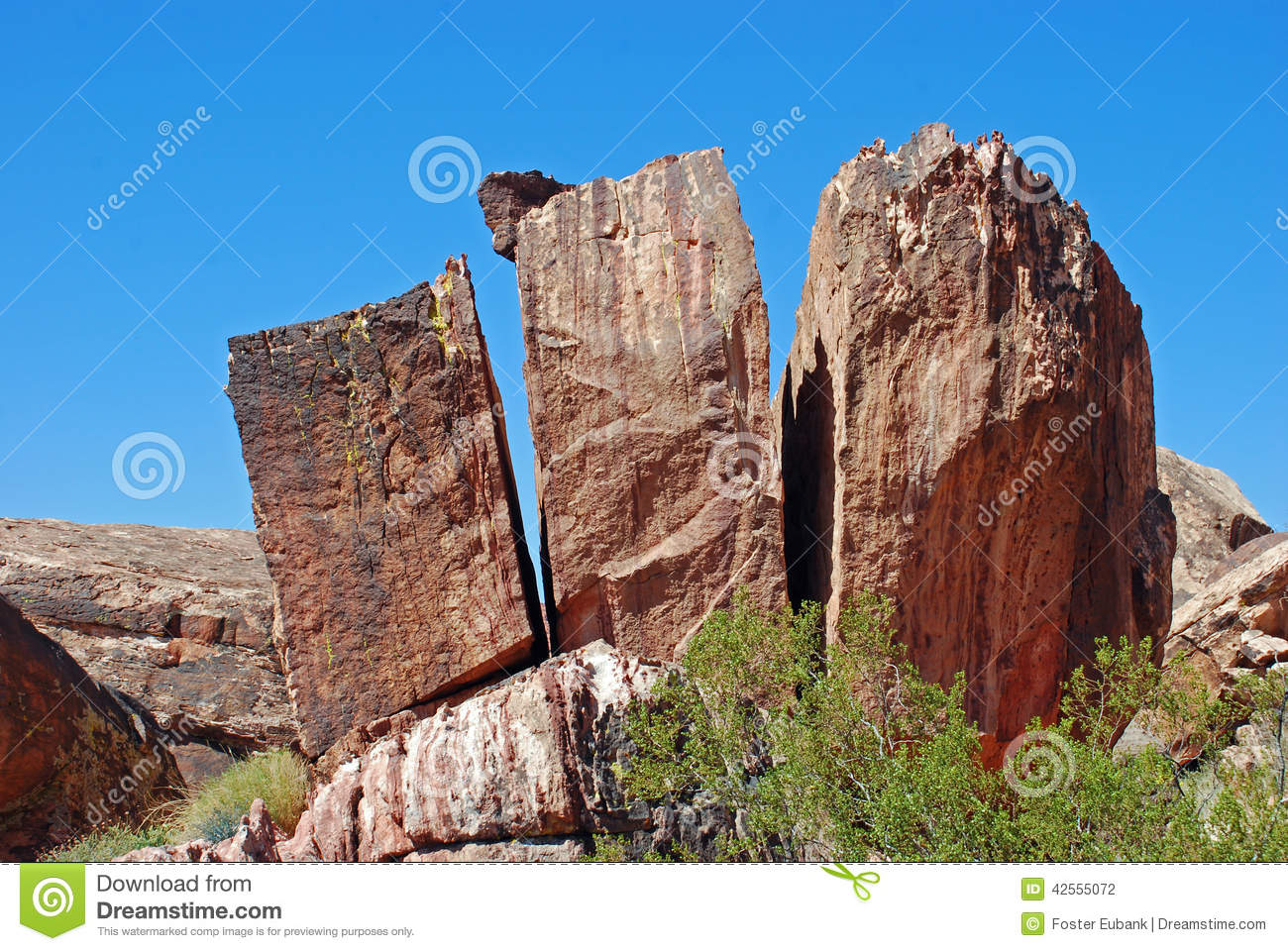 Split Rock Formation In Red Rock Canyon, Nevada. Stock Photo.