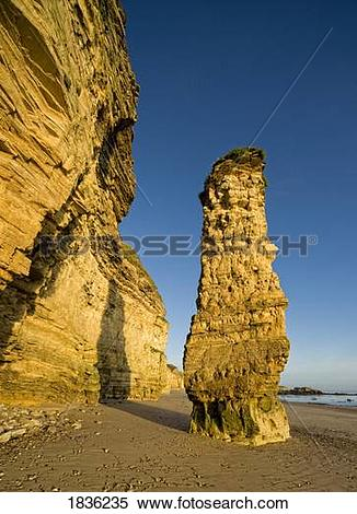 Stock Image of Lots Wife rock formation, Marsden Beach, South.