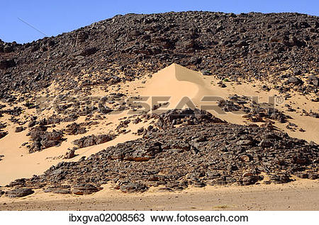 "Stock Photo of ""Formation of a sand dune in a desert rock, Hamada."