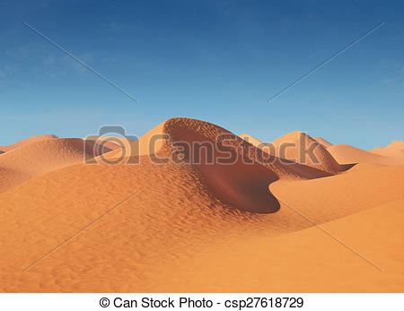 Clip Art of Illustration of sand dunes in the desert. In a very.