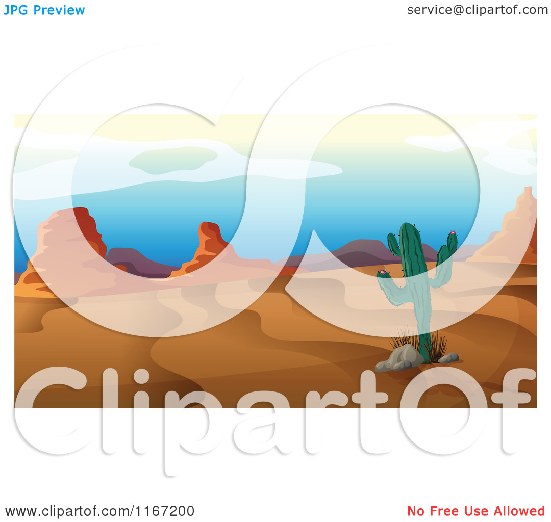Cartoon of a Lone Cactus and Desert Formations.