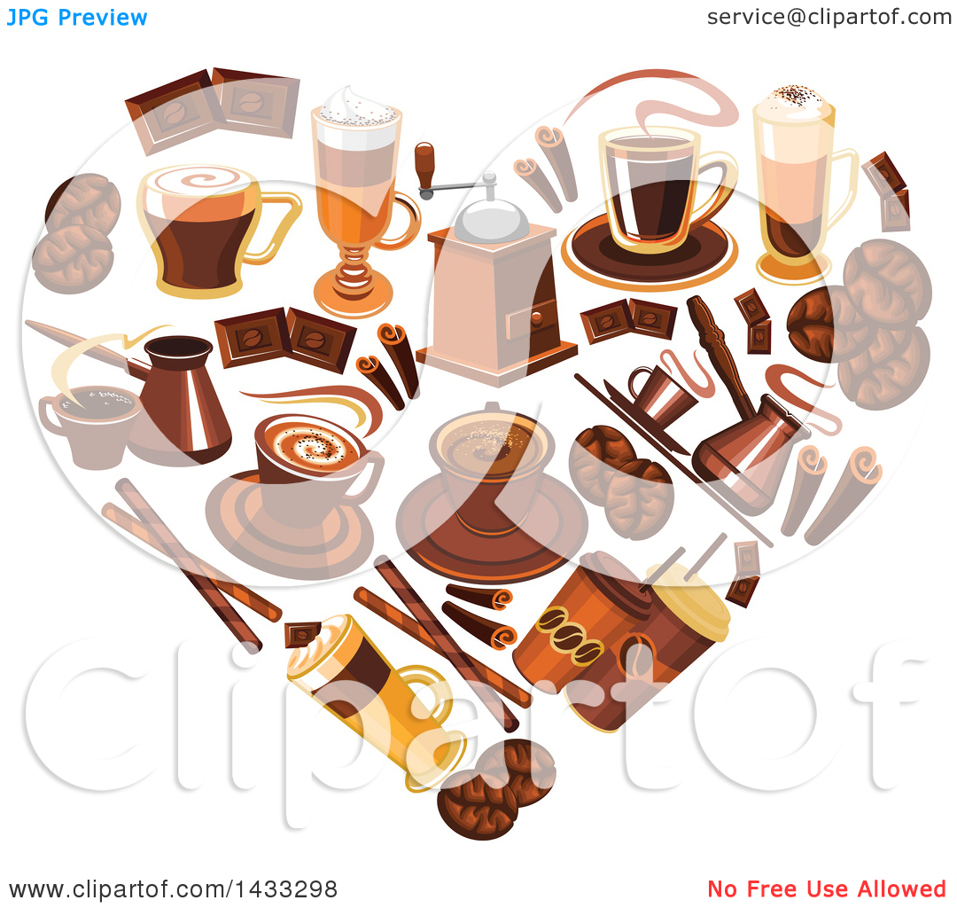 Clipart of a Heart Formed of Coffee.