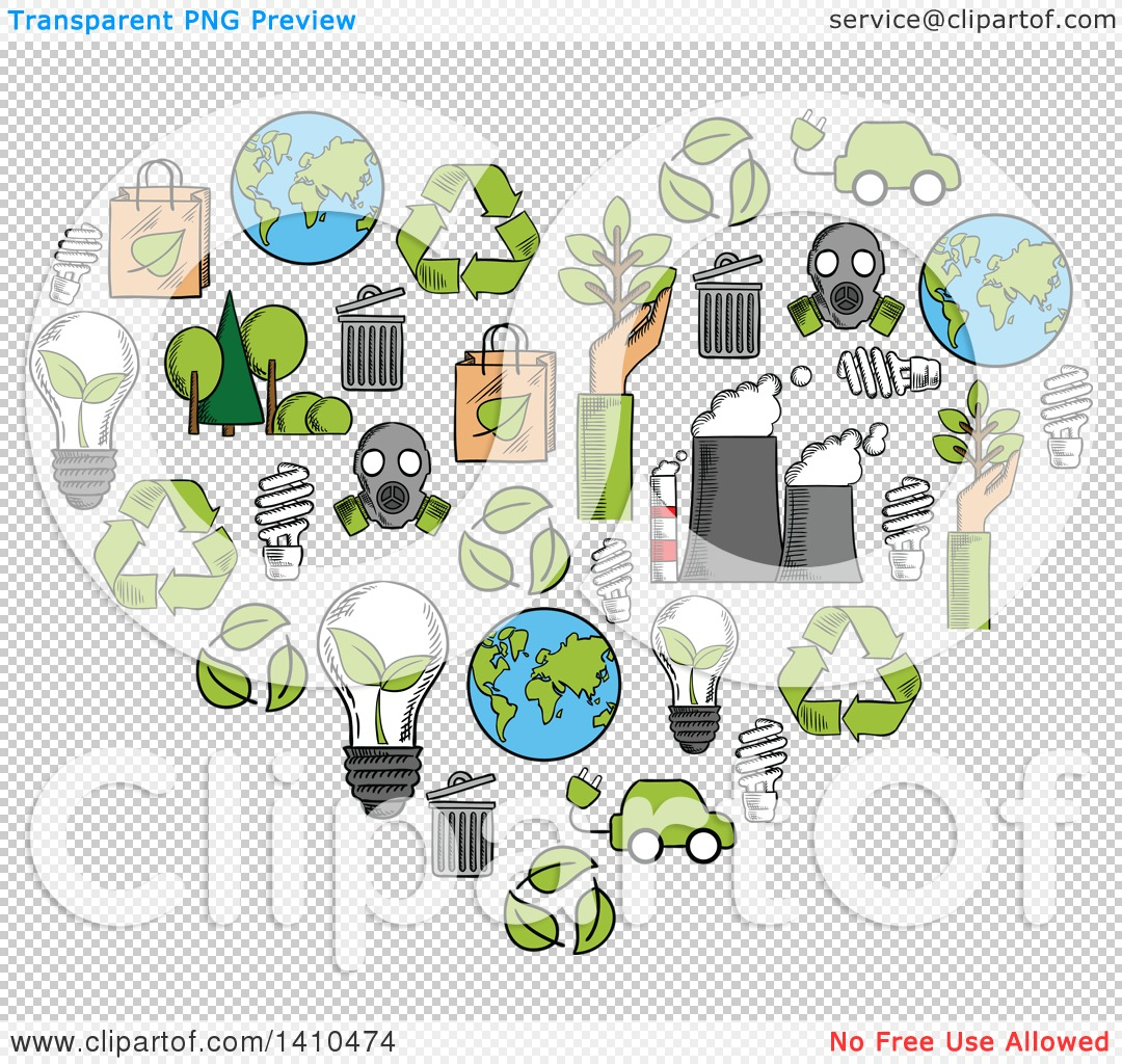 Clipart of a Heart Formed of Sketched Green Energy Icons.