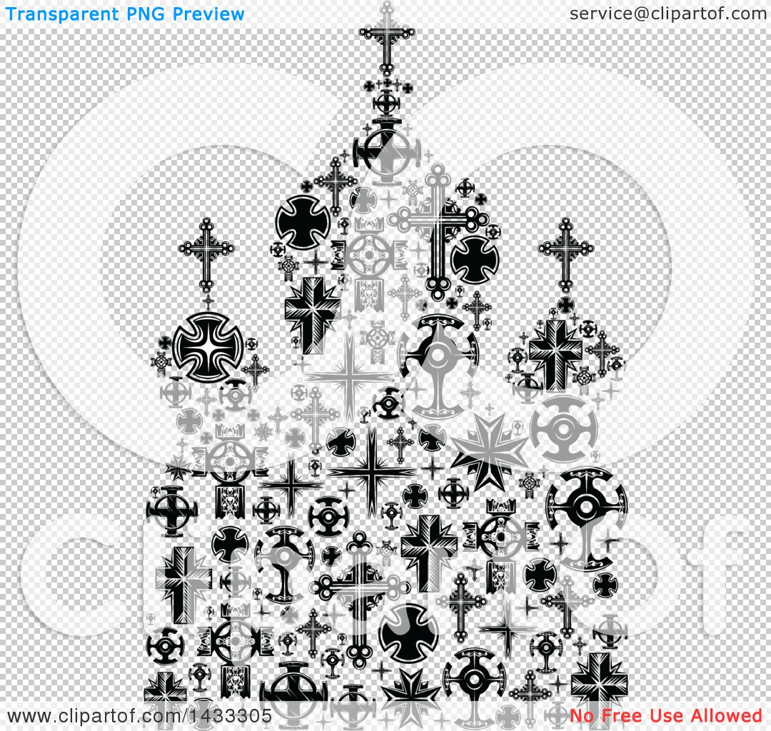 Clipart of a Black and White Church Formed of Crosses.