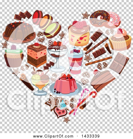 Clipart of a Heart Formed of Desserts.