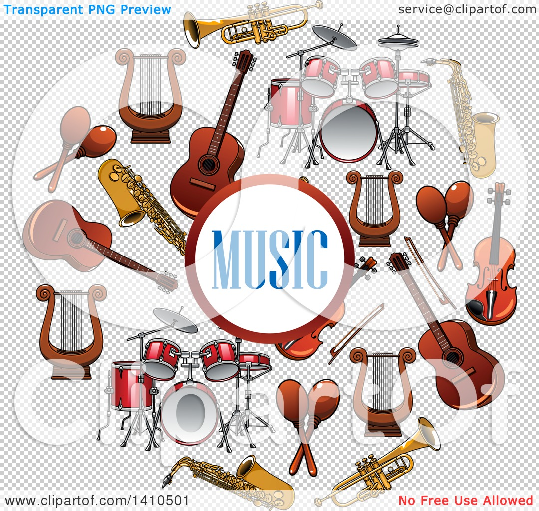 Clipart of a Circle Formed of Musical Instruments with Text.