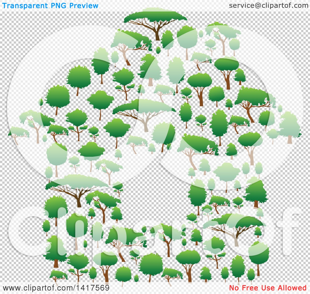 Clipart of a House Formed of Green Trees.