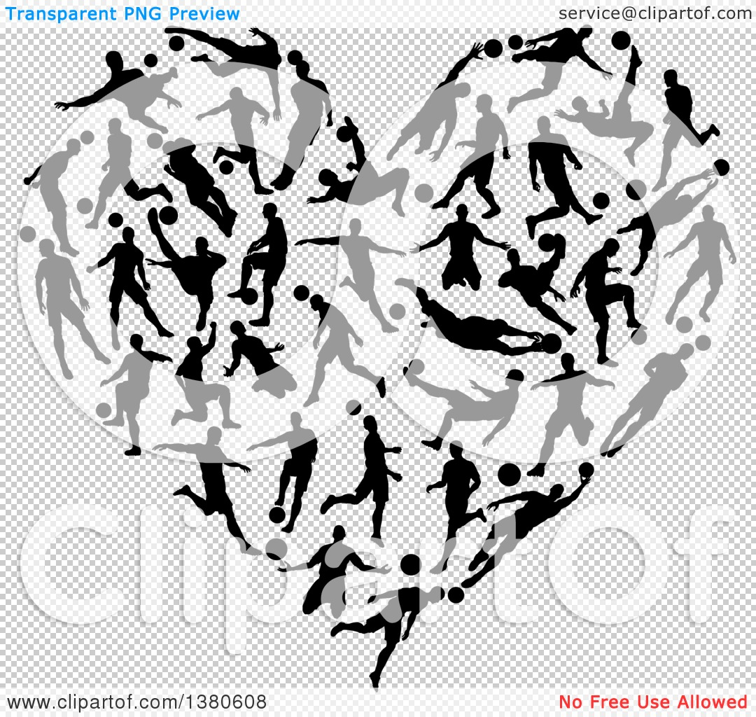 Clipart of a Heart Formed of Black Silhouetted Soccer Players.