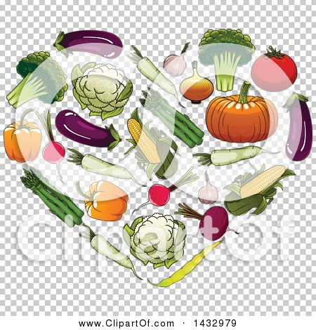 Clipart of a Heart Formed of Veggies.