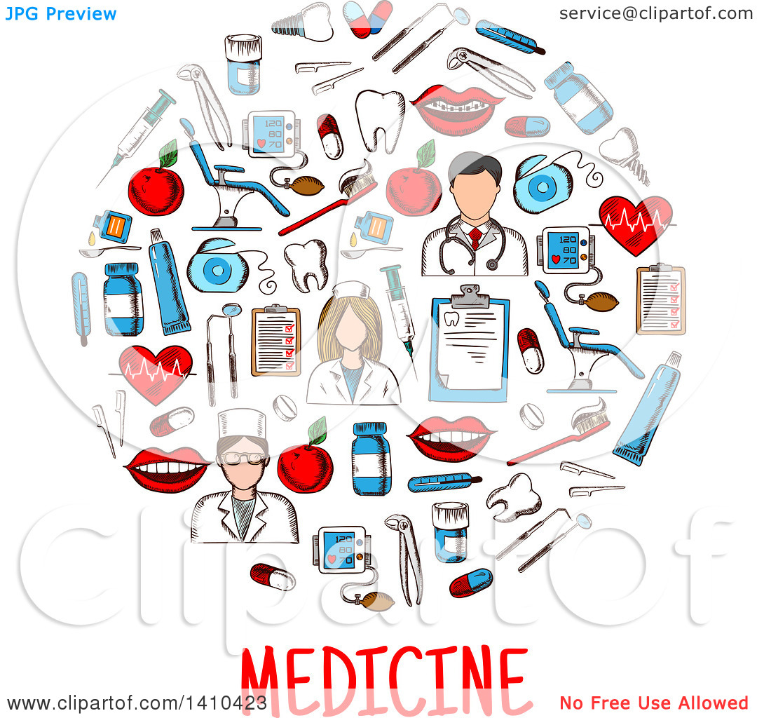 Clipart of a Circle Formed of Sketched Medical Icons with Text.