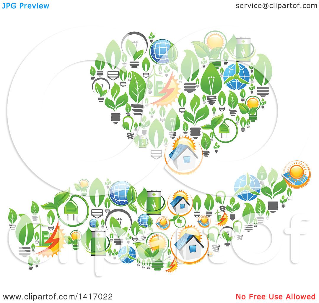 Clipart of a Heart and Hand Formed of Green Energy Icons.